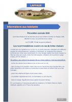 05 Août 2020 – Prévention canicule et secrétariat