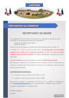 08 Novembre 2020 – Secrétariat