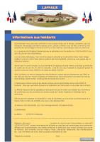 Octobre 2020 – Mise en place d'un réseau d'informations aux habitants